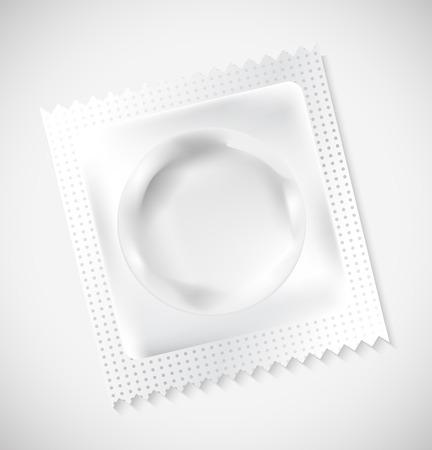 Blanco blanco Condón Wrapper, Foil Pack para su diseño Ilustración de vector