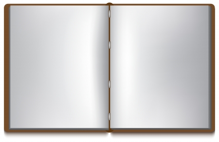 magic book: Open book with white pages and brown cover isolated over white Illustration