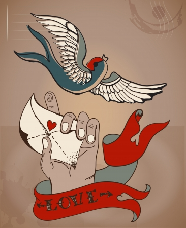 Old-school style tattoo Valentine card with mans hand and love letter for Holiday design Vector