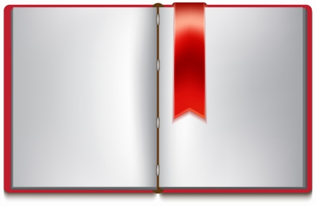 Open book with white pages, red cover and red bookmark over white Vector