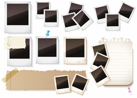 paper notes: Photo frames and paper notes collection isolated on white background for you Design