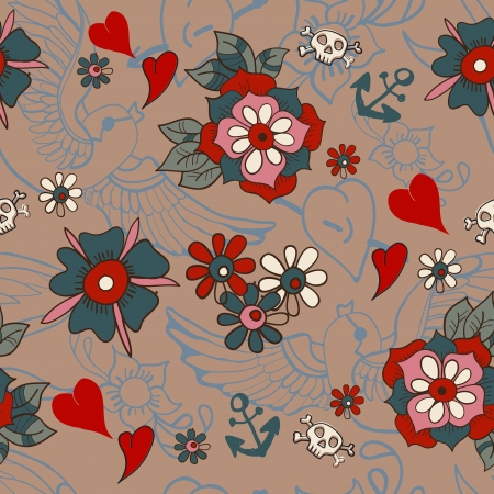 Seamless Vintage pattern with flowers for Valentine design, old school tattoo style Vector