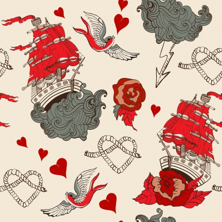 Seamless Vintage pattern with ship for Valentine design, old school tattoo style Vector