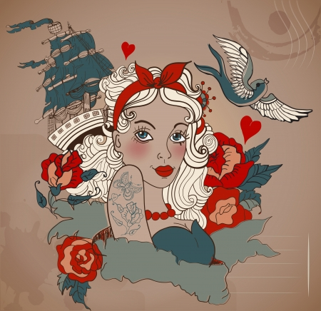 Old-school styled tattoo woman with bird and ship, Valentine illustration for Holiday design  イラスト・ベクター素材
