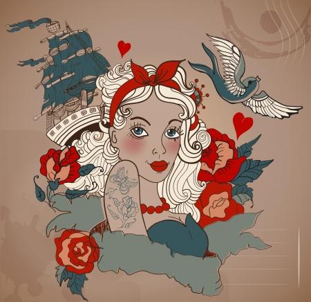 pajaro: La vieja escuela mujer tatuaje de estilo con el pájaro y el buque, ilustración de San Valentín para el diseño de vacaciones