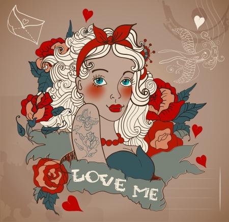 vintage lady: Old-school stijl tattoo vrouw met bloemen, Valentine illustratie voor ontwerp van de Vakantie