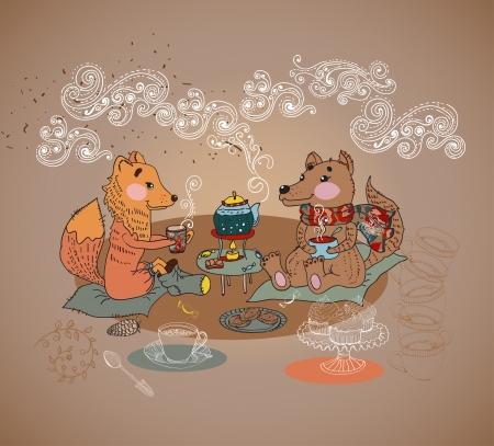 Cartoon fox and wolf tea time background