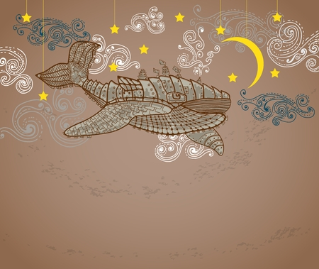 Steampunk whale in night sky with stars and moon and beautiful clouds
