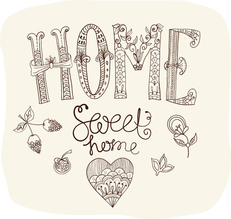 Beautiful text Home sweet home illustration with flowers, hand lettering Illustration