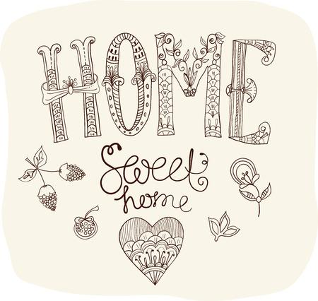 sweet home: Hermoso texto Home ilustraci�n dulce hogar con flores, letras de la mano