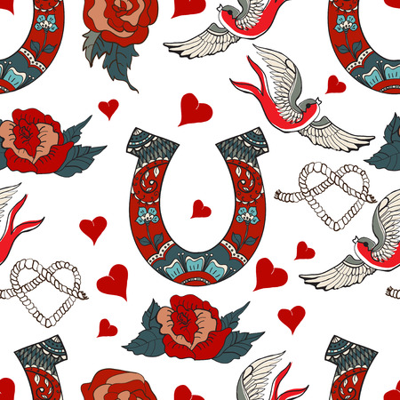 Seamless pattern with horseshoe with floral ornament, rose, swallow and hearts