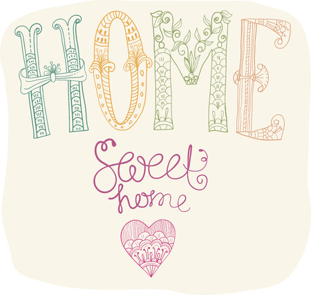 Beautiful text Home sweet home illustration with flowers, hand lettering Vector