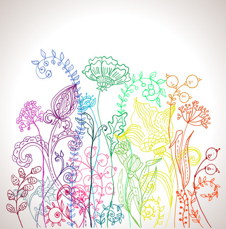 Romantic colorful flower background, natural doodle illustration