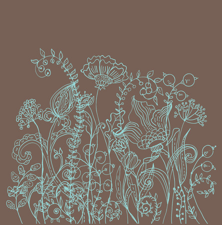 Romantic flower background, natural doodle illustration Vector