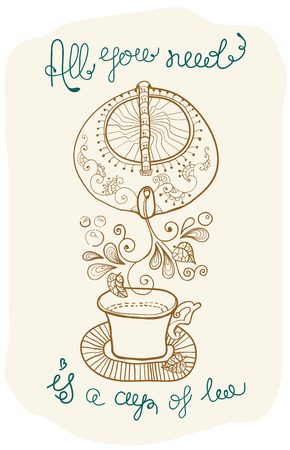 tea time background with text, teapot and cup