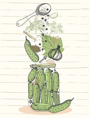 pickling: Pickled cucumbers vegetables in jar, ingredients for pickling cucumbers