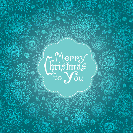 Beautiful card with flowers and Christmas lettering. Design elements over seamless background Vector