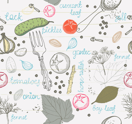 pickling: Pickled cucumbers, ingredients for pickling cucumbers, Seamless pattern