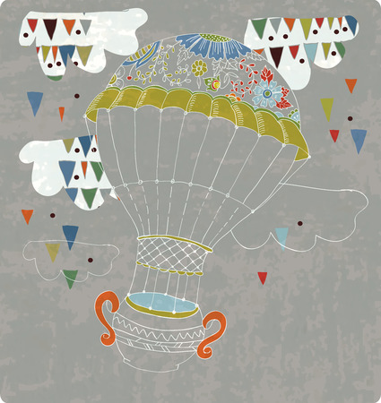 time fly: hot Air Balloon in sky with tea cup and abstract clouds, hand drawn Background for Design