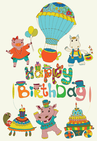 Happy birthday colorful background with funny animals, text, cake and hot air balloon Vector