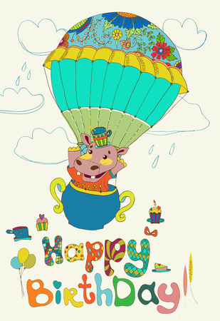 Happy birthday colorful background with funny hippopotamus, text, cake and hot air balloon Vector
