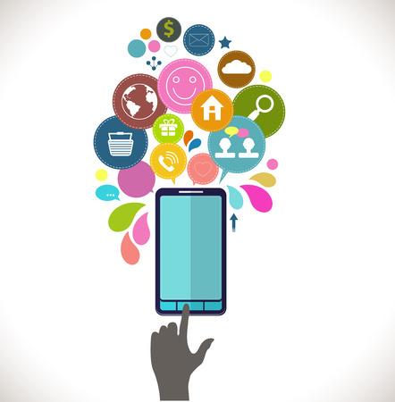 phone money: Tel�fono m�vil con iconos, Concepto colorido de la comunicaci�n, el amor, el tiempo y el dinero en la red, iconos de concepto dise�o plano Vectores