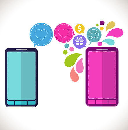 Mobile phone with icons, Colorful Concept of communication, love and money in the network,  flat design concept icons Vector