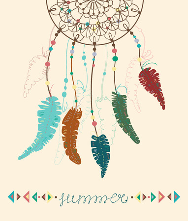 Color American Indians dreamcatcher with bird feathers and geometrical figures and lettering - summer