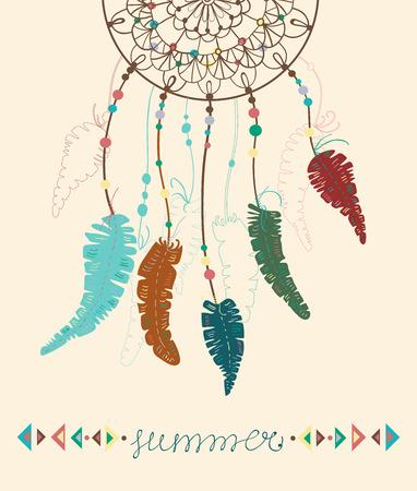 atrapasueños: Los indios americanos de color Dreamcatcher con plumas de aves y figuras geométricas y letras - verano