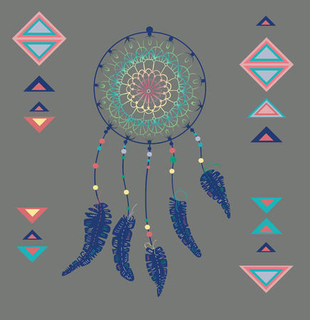 Color American Indians dreamcatcher with bird feathers and geometrical figures Vector