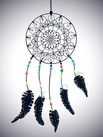 Color American Indians dreamcatcher with bird feathers and floral ornament, beautiful illustration Illustration