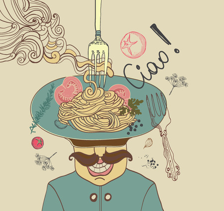 ciao: Italian pasta with tomato and chief cook man illustration Illustration