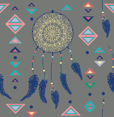 Seamless pattern of color American Indians dreamcatcher with bird feathers and geometrical figures, beautiful pattern Vector