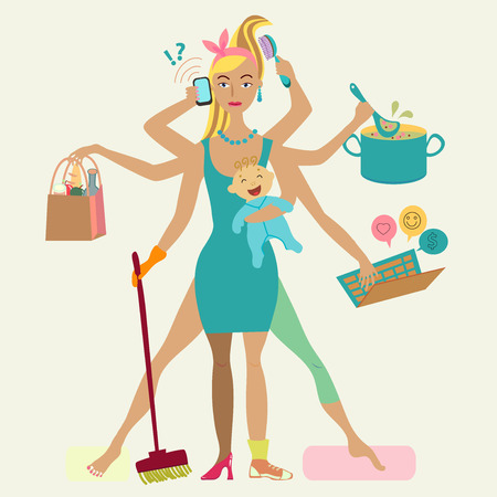 'breast milk' woman: Super mother with newborn baby - cleaning, shopping, talking by phone, coocking, working, combing hair, making sport and doing pedicure at the same time. Multi super wife, beautiful lady