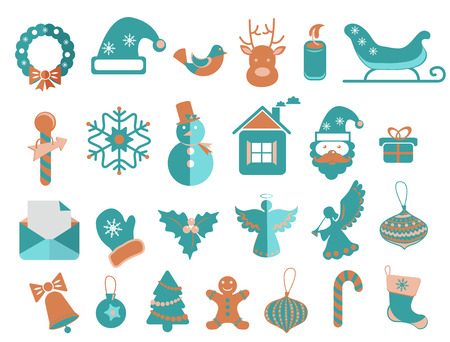 Christmas icons set for beautiful Holiday design Vector