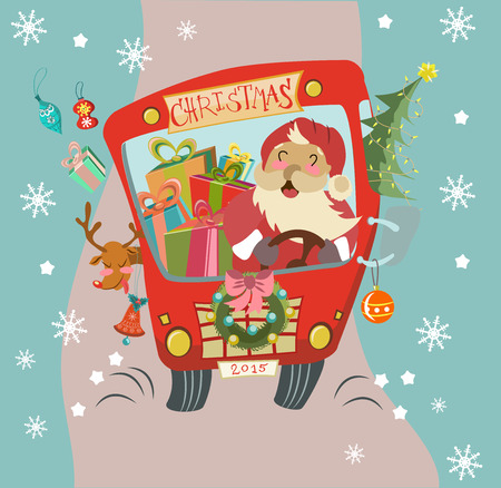 Funny Christmas background with Santa Clause and deer in bus, retro cartoon illustration