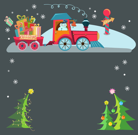 Funny Christmas background with a toy train with gifts, snowman and christmas tree, retro cartoon illustration Vector