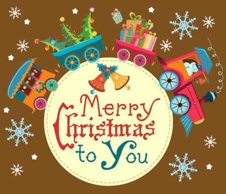 tren caricatura: Fondo divertido de la Navidad con un tren de juguete con regalos, muñeco de nieve y árbol de navidad, la etiqueta con el texto, ilustración de dibujos animados retro