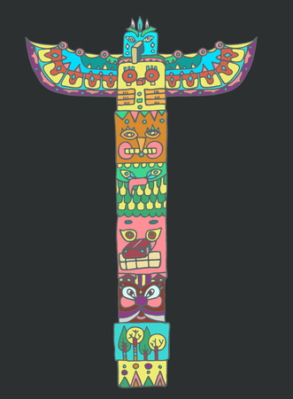 the totem pole: Color Totem pole with animals illustration