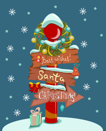 Сhristmas background with wooden sign for holiday design Vector