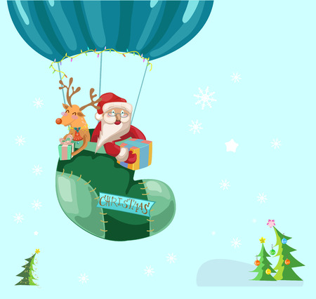 Funny Color Christmas background with hot air balloon with Santa Claus and deer, retro cartoon illustration Vector