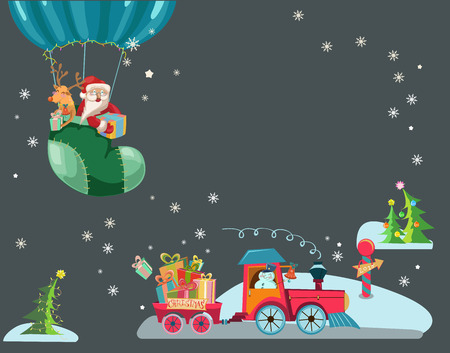 Funny Color Christmas background with a toy train with gifts, snowman and christmas tree, hot air balloon with Santa Claus and deer, retro cartoon illustration Vector