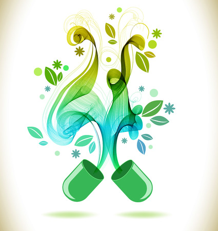 alternative therapy: Opened green color pill with abstract wave, natural background
