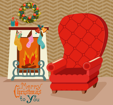 fireplace christmas: Color retro room with fireplace, and big soft chair, Christmas background