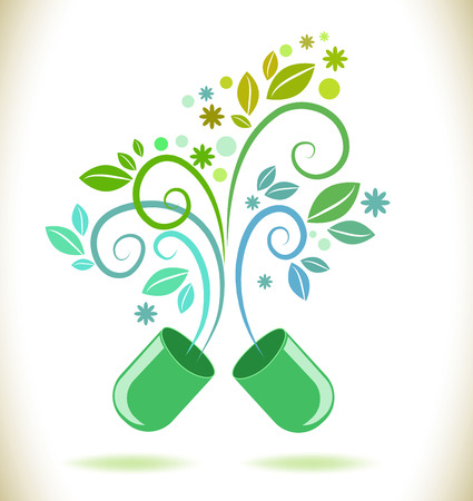 Opened green color pill with leaf and flowers, natural background
