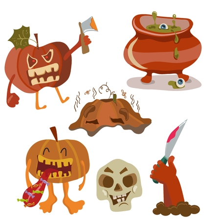 Halloween color funny set with pumpkin, hand, skull and copper Vector