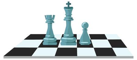 チェスとビジネス戦略の平らな設計図は現代概念のチェス盤の数字します。