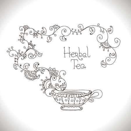 teacups: Herbal tea hand drawn illustration