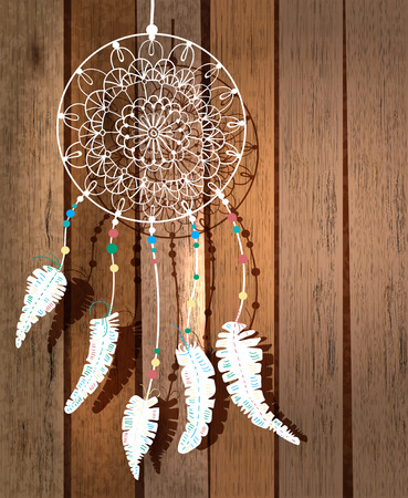 myth: Color American Indians dreamcatcher with bird feathers and floral ornament over wood background, beautiful illustration