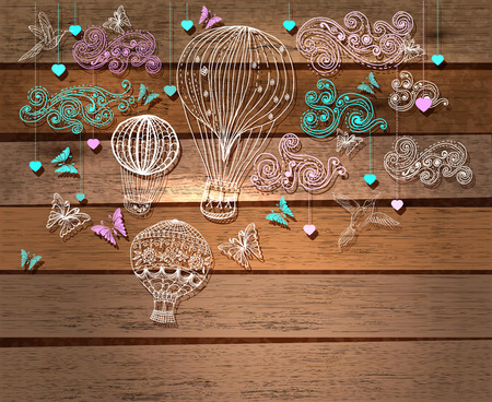 balon: Color Valentine illustration, hot Air Balloon in sky, hand drawn Background for Design with hearts and birds over wood background